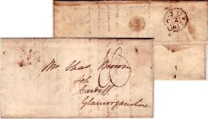 Great Britain [Cardiff] 1817 Dateline with ms 1 on Stampless Folded Letter Lo...