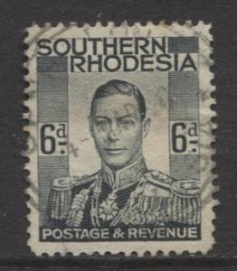 Southern Rhodesia- Scott 46 - KGVI - Definitive -1937 -FU- Single 6d Stamp