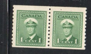 Canada Sc  263 1943 1 c green George VI  coil stamp pair mint NH