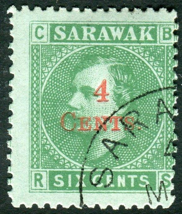 SARAWAK-1899 4c on 6c Green/Green.  A fine used example Sg 34