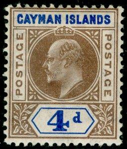 CAYMAN ISLANDS SG13, 4d brown & blue, LH MINT. Cat £40.