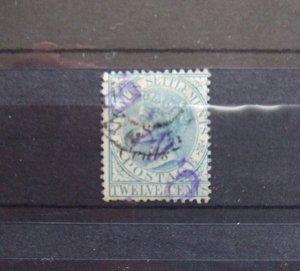 Straits QV 1884 8c on 12c blue SG74