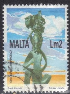 MALTA SC# 794 **USED** LM2  1991 INDEPENDENCE MONUMENT