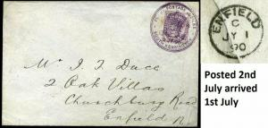 1890 Penny Postage Jubilee 1d Lilac *Sent 2nd arrival 1st*