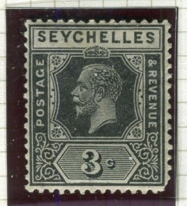 SEYCHELLES; 1922 early GV issue fine Mint hinged Shade of 3c. value