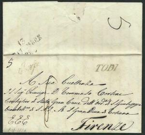 ITALY 1825 entire TODI to Firenze..........................................66410
