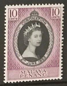 Malaya - Penang #27 MNH CV$1.75 QEII Coronation