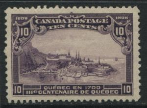 Canada 1908 10 cents Quebec Tercentenary unmounted mint NH and almost VF