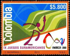 HERRICKSTAMP COLOMBIA Sc.# 1330 South America Games 2010