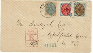Danish West Indies 1900 St. Thomas cancels on registered cover to the U.S.