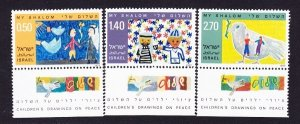 Israel #622 - 624 Children's Peace Drawings MNH Singles with tabs