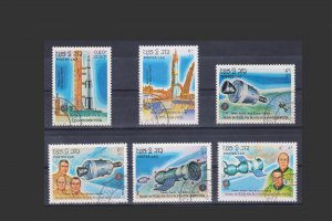 STAMPS FROM LAOS 1985 SCOTT # 650 - 55. TOPIC: SPACE