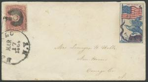 #65 ON COVER W/ PATRIOTIC PIECE DATE MARCH 17,1864 OSWEGO,Co. NY BS4373