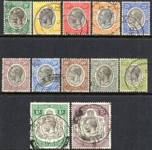 1927 Tanganyika Sg 93/103 Short Set of 12 Values Good to Fine Used