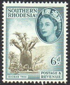 Southern Rhodesia 1953 6d Baobab tree MH