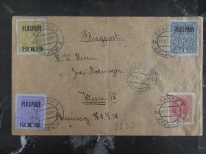 1918 Krakow Poland to Vienna Austria Airmail Cover # C1-C3 Rare Flugpost