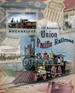 MOZAMBIQUE 2012 SHEET UNION PACIFIC RAILROAD TRAINS LOCOMOTIVES