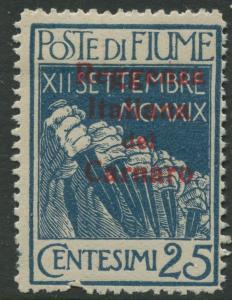 Fiume - Scott 112 - Overprint -1920 - MLH - Single 25c Stamp