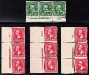 GUAM #1 & 2 (4) DIFF STRIPS OF 3 WITH PLATE NOs & IMPRINT CV $315 BT5796