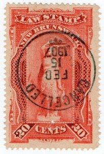 (I.B) Canada Revenue : New Brunswick Law Stamp 20c