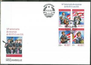 MOZAMBIQUE 50th ANNIVERSARY OF THE BEATLES IN THE USA SHEET FDC