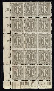 GERMANY STAMP British American Zone 4PFG UNUSED NG BLK OF 18 STAIN