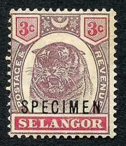 Selangor SG54s 3c Opt Specimen (M/M Hinge remainders and brown gum)