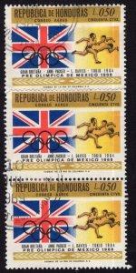 Honduras C434 used (v strip of 3)