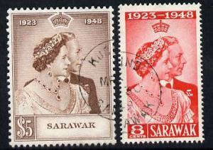 Sarawak 1948 KG6 Royal Silver Wedding set of 2 cds used S...