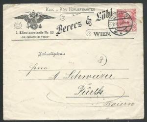 AUSTRIA 1909 10h printed to private order adverting envelope used, Vienna..59331
