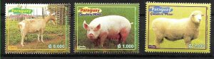 PARAGUAY 2003 FAUNA FARM ANIMALS PIG,LAMB MI 4901-3 YV 2868-70 MNH