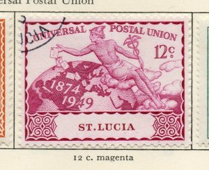 St Lucia 1949 GVI Early Issue Fine Used 12c. NW-154988
