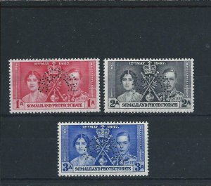 SOMALILAND 1937 CORONATION SET PERF SPECIMEN MM SG 90s/92s CAT £100
