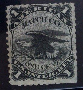 Scott #RO12a - 1c Black - Old Paper - American Match Co.