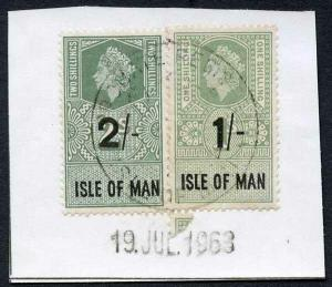 Isle of Man QEII 2/- and 1/- Key Plate Type Revenues CDS on Piece