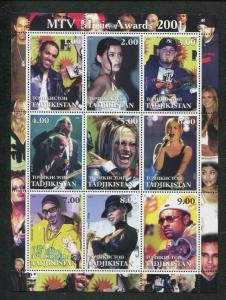 Tajikistan Commemorative Souvenir Stamp Sheet - MTV Music Awards 2001