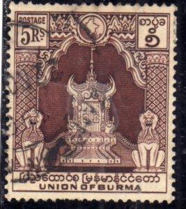 BURMA BIRMANIA BIRMANIE MYANMAR 1954 THRONE TRONO 5K USED USATO OBLITERE'