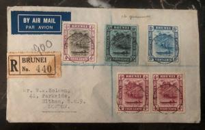 1934 Brunei First Flight Airmail Cover FFC Via Singapore - London England KLM
