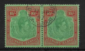 LEEWARD ISLANDS SG113 1938 10/= BLUISH-GREEN & DEEP RED ON GREEN PAIR USED