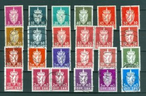 Norway. Lot 22 Different Off. Sak. Official Stamps,Cancel 1960-1980is.