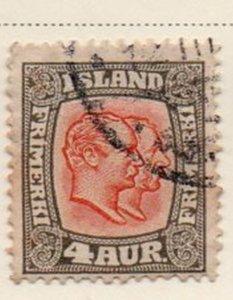 Iceland Sc 101 1915 4 aur 2 Kings stamp used
