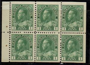 Canada Sc 104a 1911 1c grn G V Admiral stamp bklt pane of 6