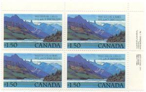 Canada - 1982 $1.50 Waterton Lakes UR Plate Block w. Variety