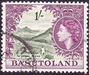 BASUTOLAND 1954 QEII 1/- Bronze-Green & Purple SG62 FU