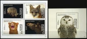 Antigua a 2017 wild fauna owls fox cats of prey national geographic klb+s/s MNH