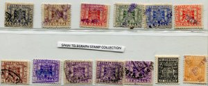 SPAIN TELEGRAPH STAMP COLLECTION  12 used and 1 Mint NH