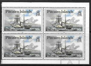 PITCAIRN ISLANDS SG374a 1990 90c BOOKLET PANE FINE USED