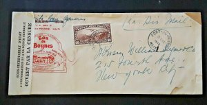 1942 Port-Au-Prince Haiti To New York NY Boynes Water Ad Censored Airmail Cover