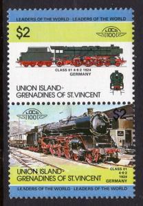 St Vincent Grenadines Union Island 52 Trains MNH VF