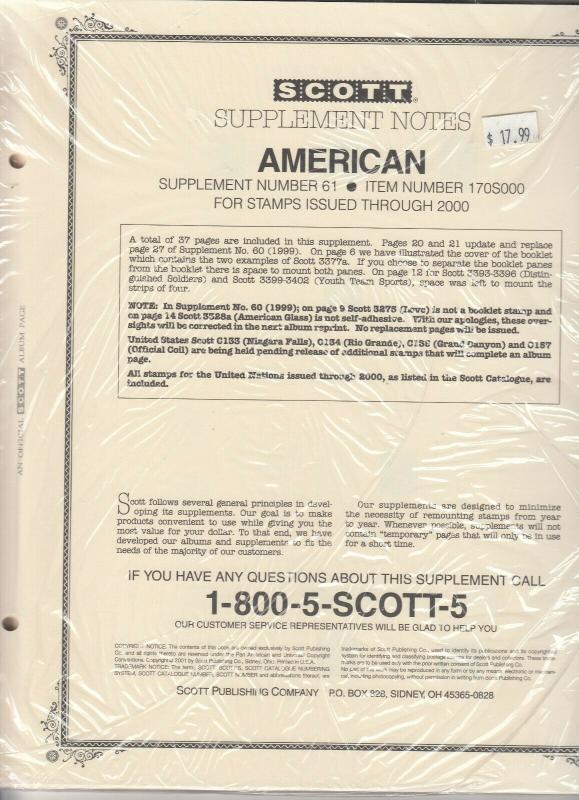 Scott American Album Supplement #61 Stamps Through 2000